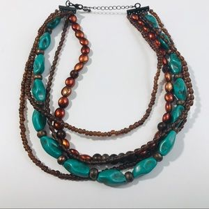 Necklaces Turquoise Brown Multilayer Bohemia Style